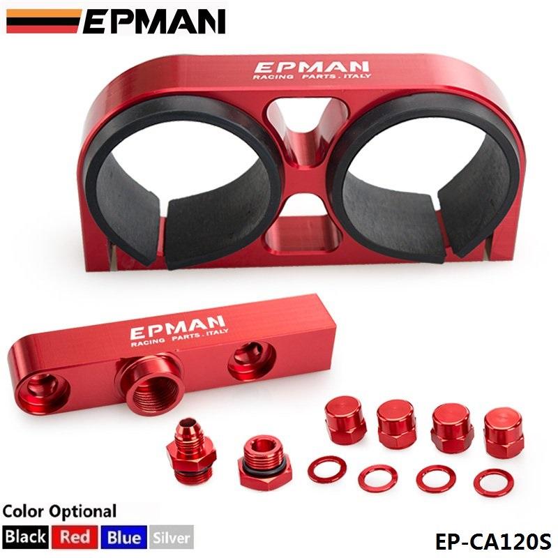 Prix pour TANSKY-EPMAN Billet de Montage En Aluminium Double Double Double 044 pompe à carburant collecteur De Sortie avec support de montage Pour BMW EP-CA120S