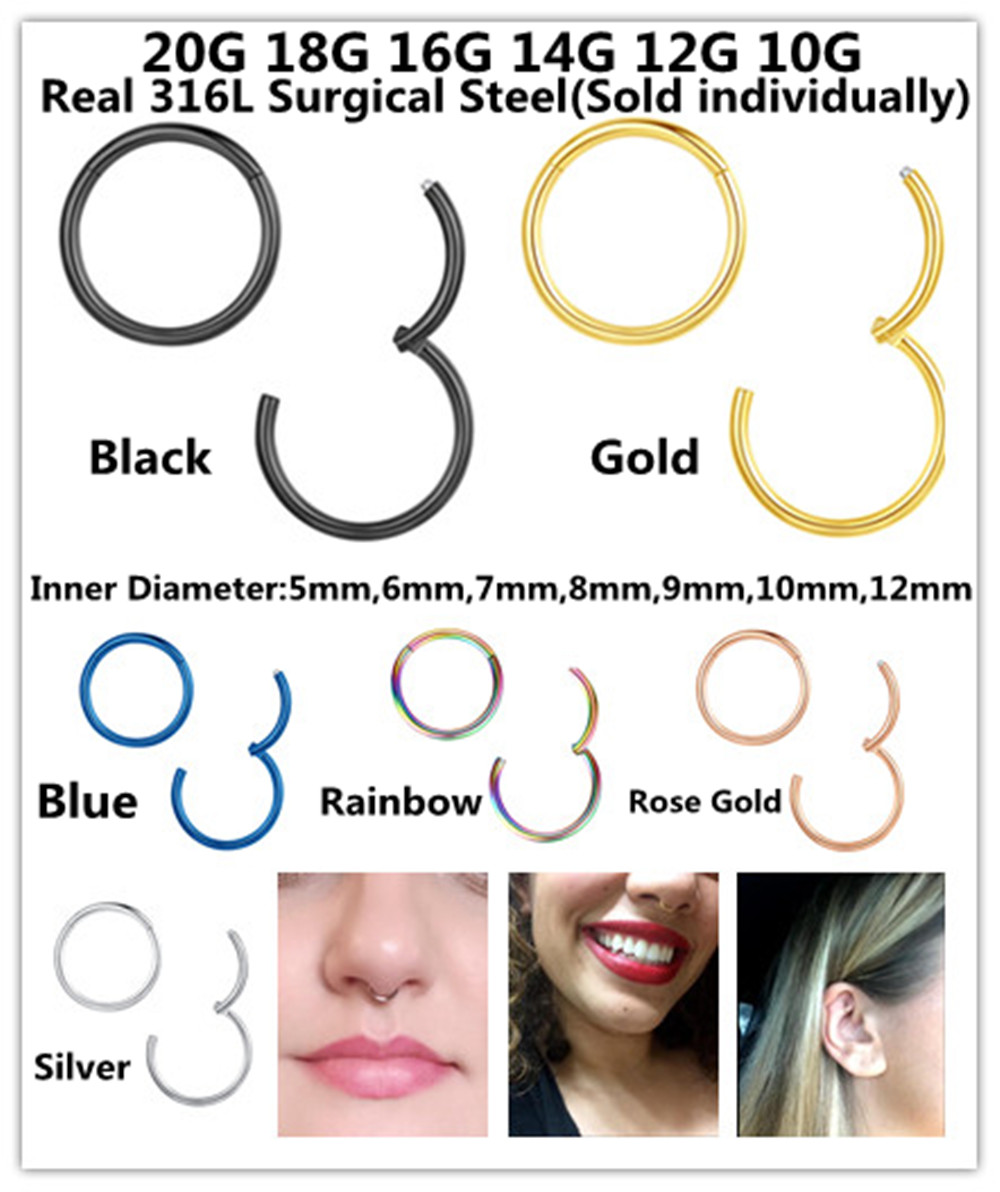 20g 18g 16g 14g 316l Surgical Steel Hinged Nose Rings Hoop Septum
