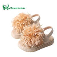 Claladoudou 13.5 19CM Brand 1 6Years Old Little Girls Sandals Lace Pompom Fashion Beach Sandal For Toddler Girls Princess Flat Sandals    -