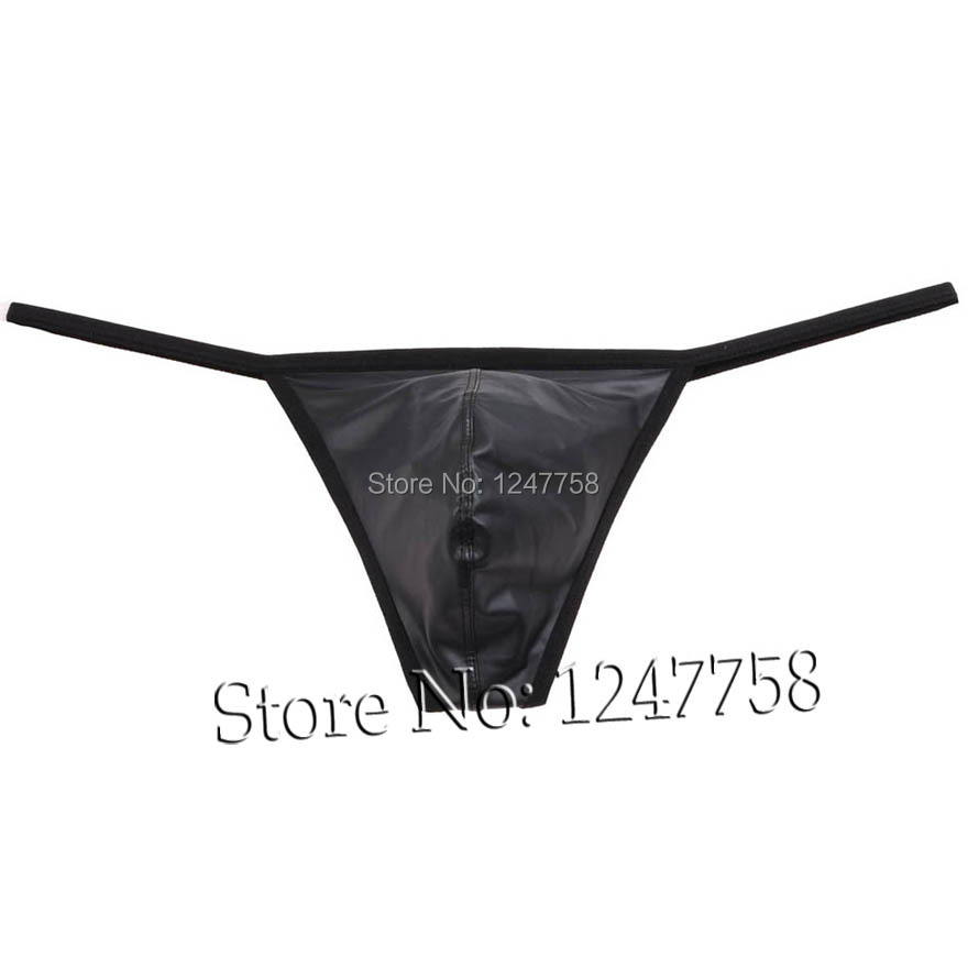 Sexy Male G-String Thong Pants Men's Bulge Pouch Tanga Underwear Leather Like T-Back