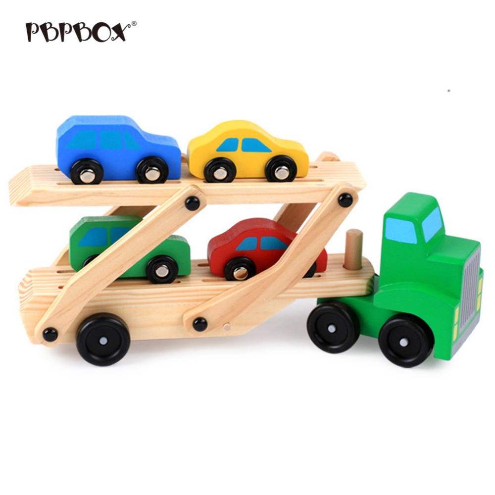 5pcs Wooden Double Decker Truck Toy Transport Carrier Truck Simulation Toy <font><b>Car</b></font> <font><b>Model</b></font> for Children Kids image