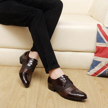 Men Formal Shoes Hollow Outs Breathable Pointed Toe Patent Leather Oxford For Dress Business