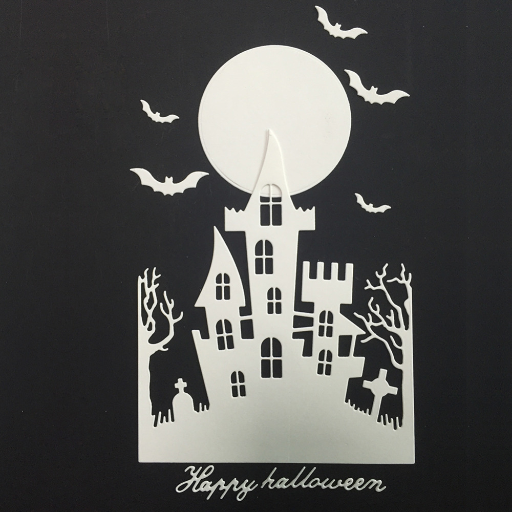Halloween Bat With House Cutting Dies Scrapbooking Metal Cutting Pressing Stencils Craft For DIY Decorations Embossing