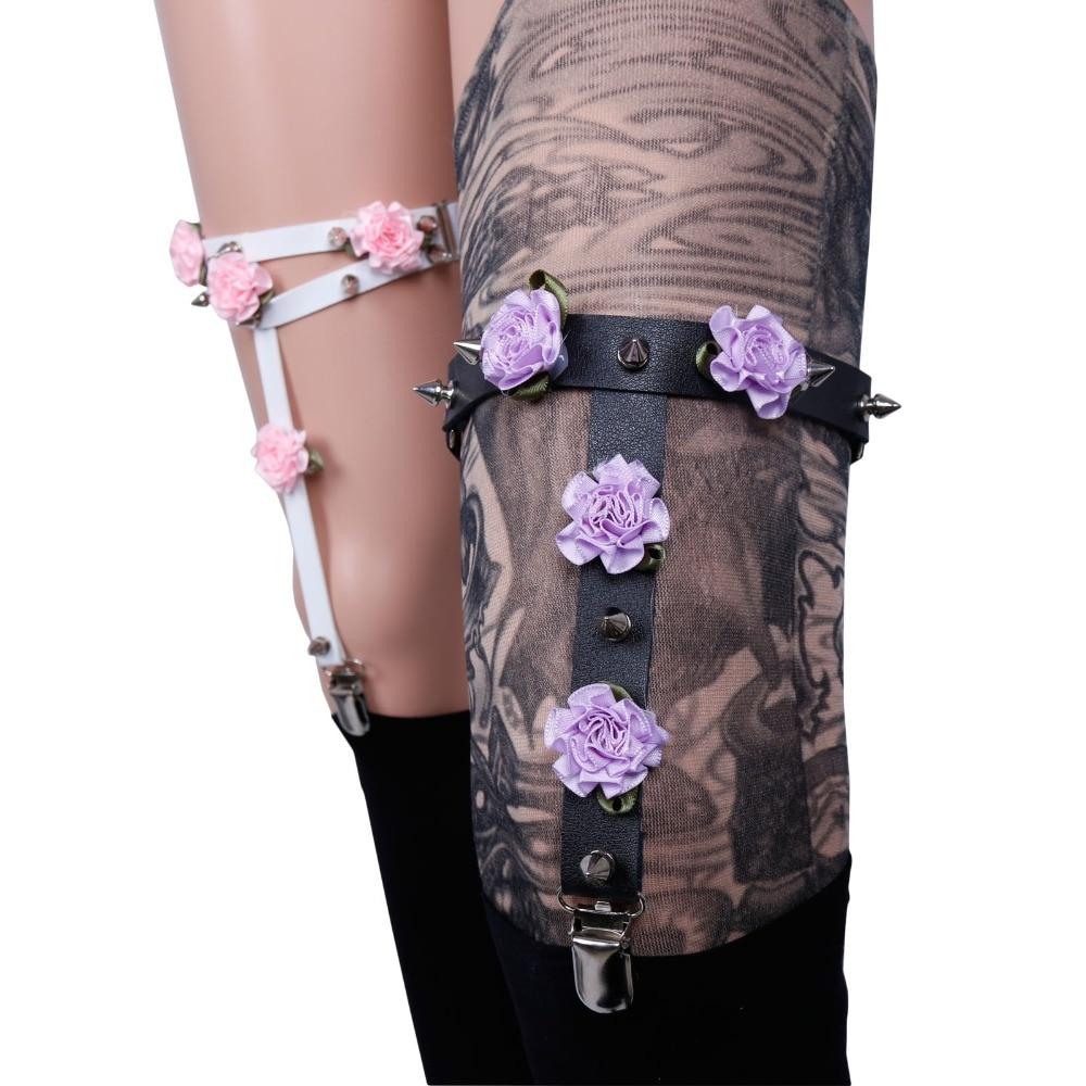 pastel goth garter belts 2016 new cosplay punk flowers garter suspernder for leggings plus adjustable size glass bottle