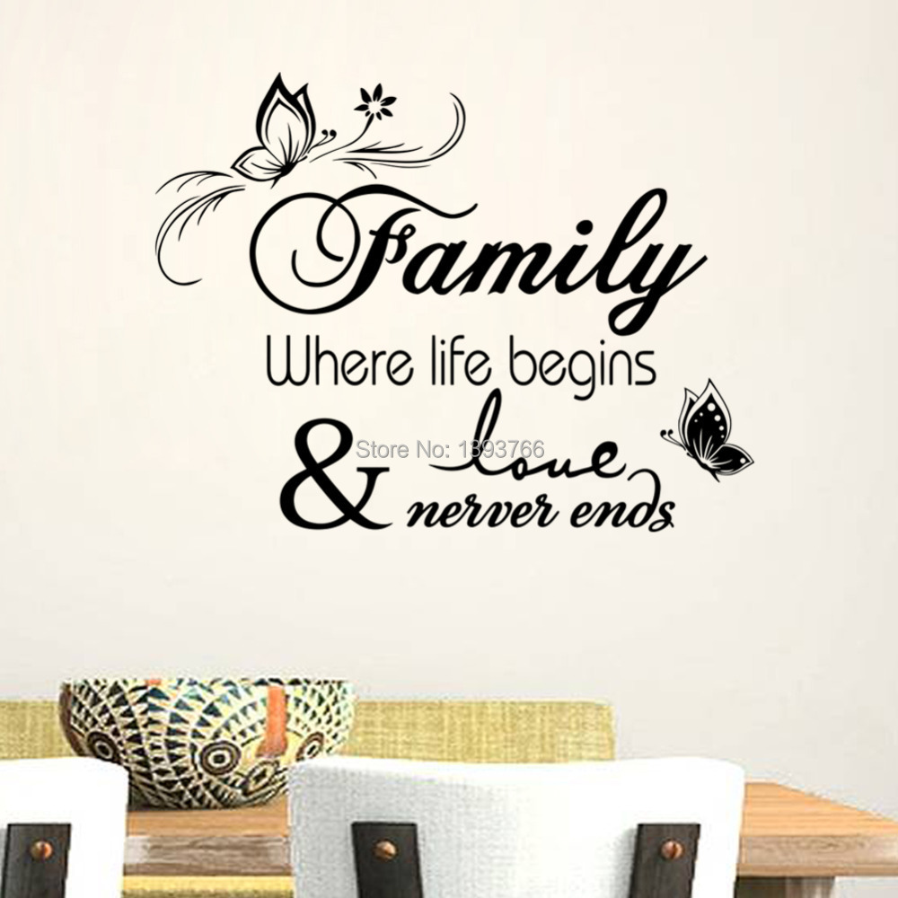 Family home decor creative quote wall decals decorative removable ...
