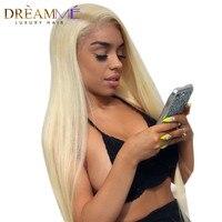 Мечтая queen hair #613 полный шнурок натуральные волосы парик Реми шелковистые прямые волосы 130% плотность чисто блондинка парик рука 100% связали