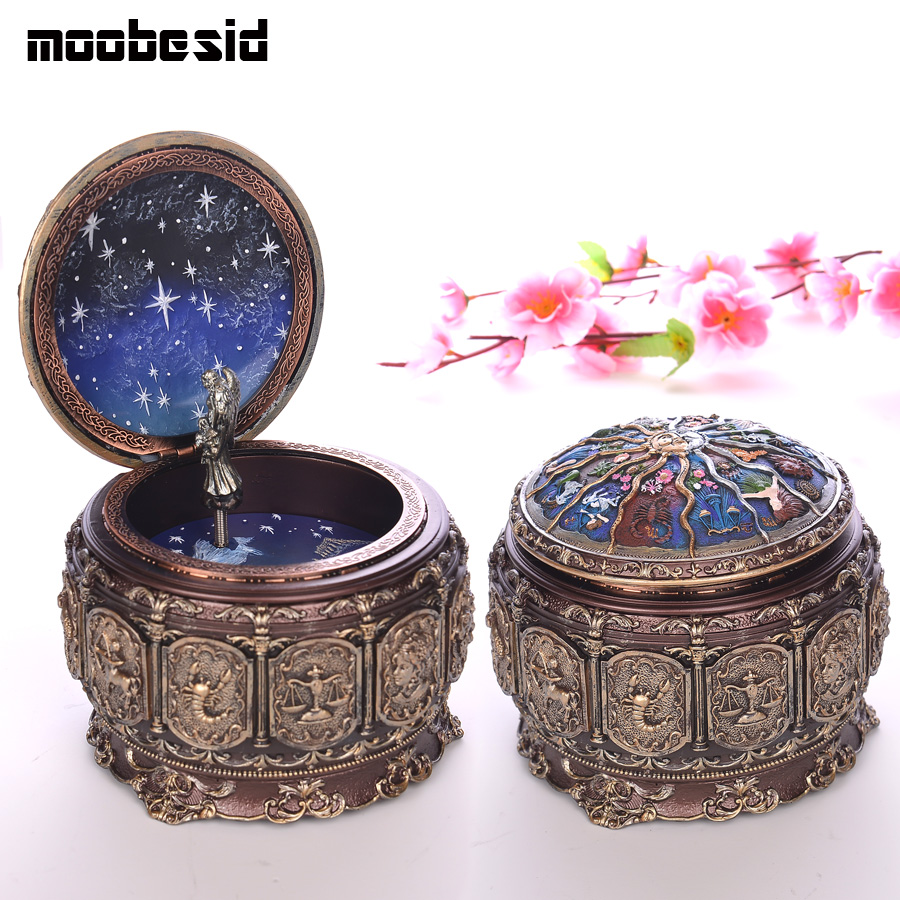 Bronze Zodiac 12 Signs Music Box Retro 12 Constellation Musical Boxes Sun God Gift Box for Girls Valentines Day Birthday Gifts