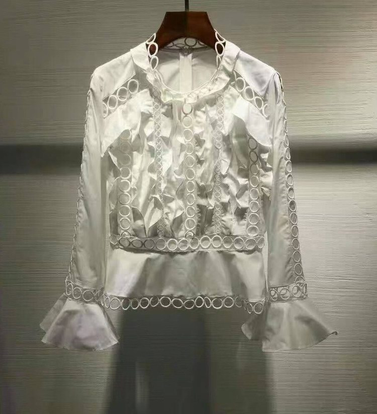 2017 Spring New Woman Luxury Winsome White font b Shirt b font Blouse Frills front Panelled