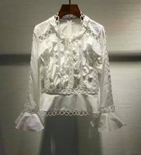 2017 Spring New Woman Luxury Winsome White Shirt Blouse Frills front Panelled peplum bodice with frills and circles Long sleeves