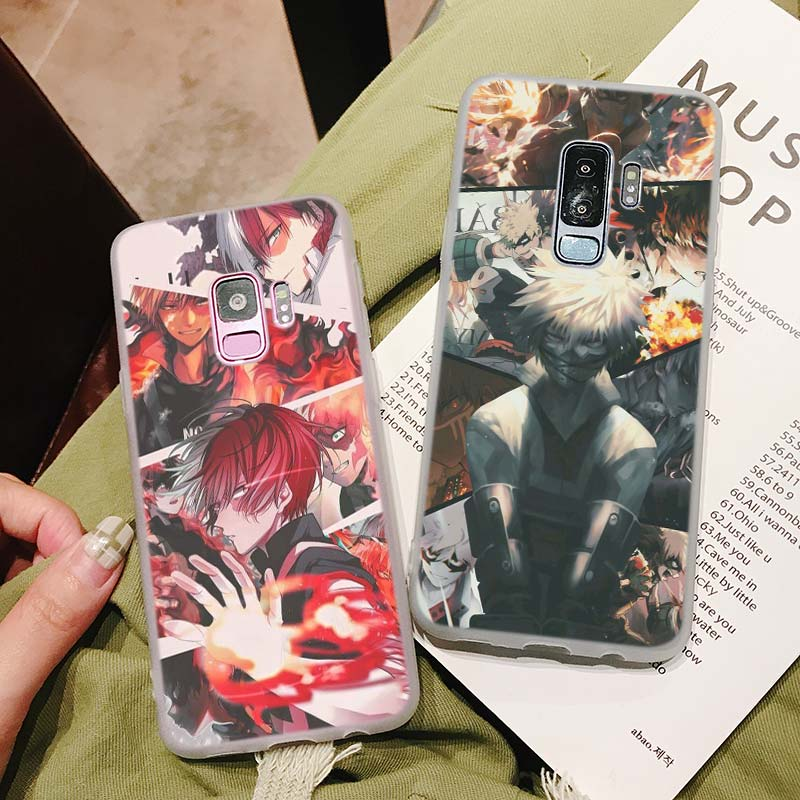Silicone Case Boku no hero for Samsung Galaxy Note 8 9 M30 M20 M10 S10 S9 S8 Plus Lite S6 S7 Edge Cover in Fitted Cases from Cellphones Telecommunications