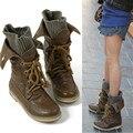 Tamanho grande 34-52 Mulheres Laddies Lace Up Martin Botas de Combate militares Sapatos Ankle Boots outono Inverno Plush Fur Tornozelo Quente botas
