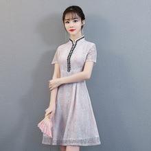 Chinese Traditional Women Short Sleeve Slim Cheongsam Lace Flower Sexy Mandarin Collar Dresses New Arrival Female Qipao S-XXL