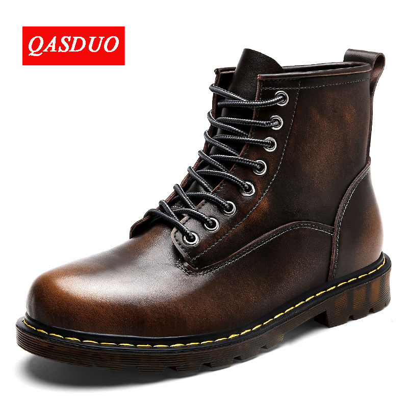 QASDUO Men Motorcycle Boots Vintage Combat Boot Winter Fur 2018 New Cow Split Leather Waterproof Buckle Military Boots Men Shoes