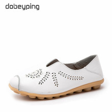 dobeyping New Cut-Outs Shoes Woman Genuine Leather Women Flats Hollow Summer Women's Loafers Female Solid Shoe Large Size 35-44 цена в Москве и Питере