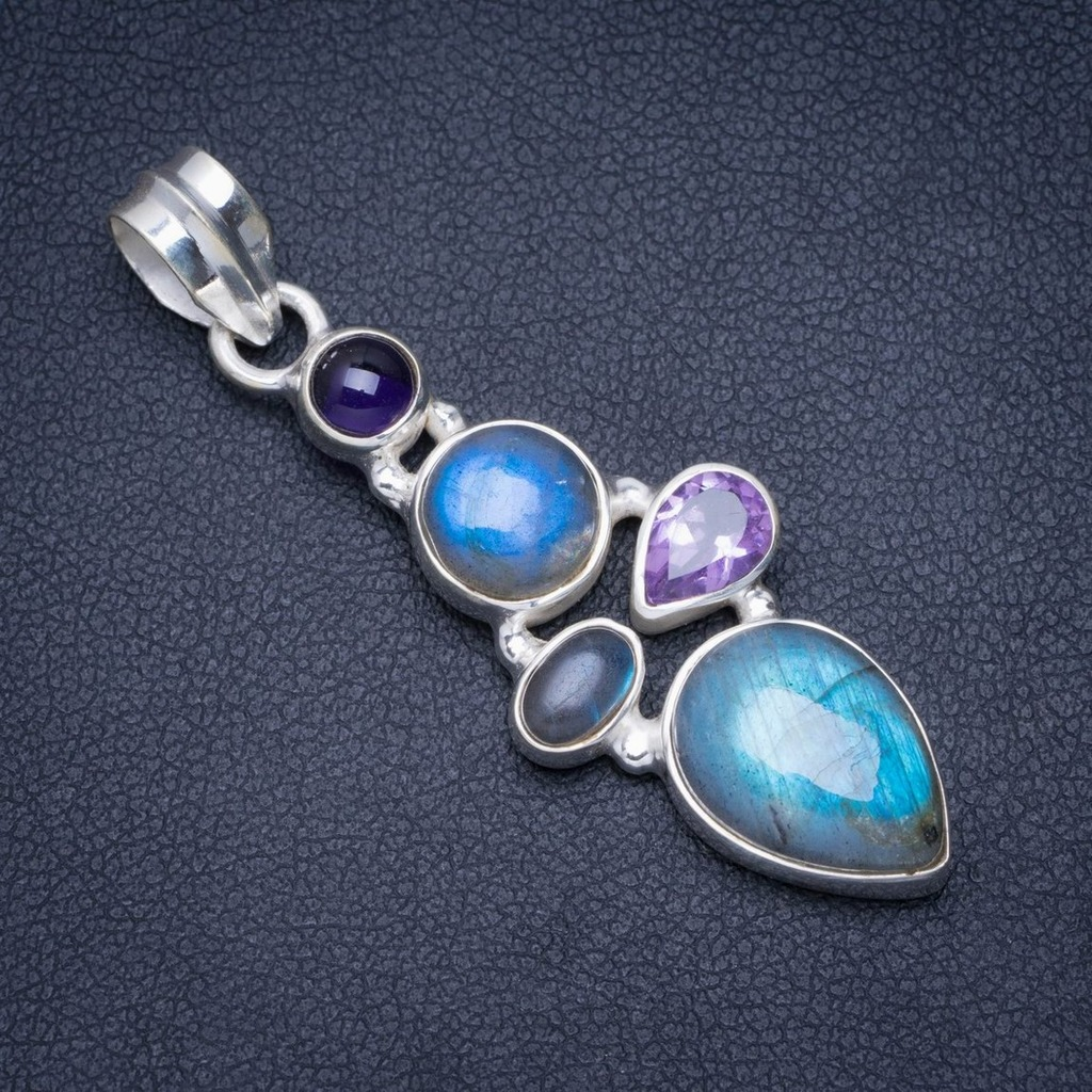 Natural Blue Fire Labradorit and Amethyst Handmade Unique 925 Sterling Silver Pendant 2 A0085Natural Blue Fire Labradorit and Amethyst Handmade Unique 925 Sterling Silver Pendant 2 A0085