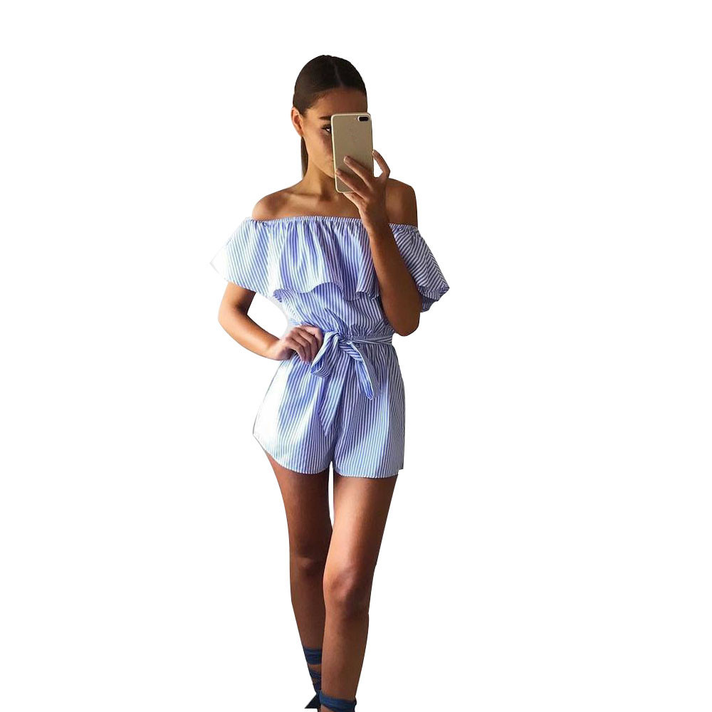 Free Ostrich Off shoulder floral embroidery romper women Sexy v neck drawstring short playsuit Casual beach summer D1235