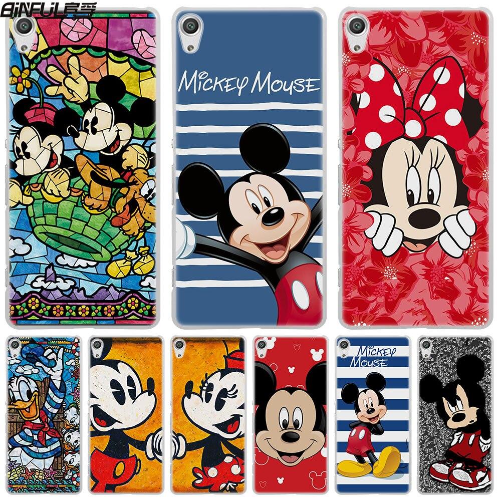 BiNFUL Luxury Mickey Mouse Minnie skin hard White Phone Case Cover for Sony Xperia Z1 Z2 Z3 Z4 Z5 M5 M4 Aqua XA 1 E4 E5 C4 C5