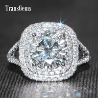 TransGems 3 Carat GH Near Colorless Lab Moissanite Wedding Halo Ring Real Diamond Accents Solid