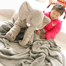 2016 Baby 60CM One Piece Elephant With Blanket In Belly Plush Toys Cute PP Cotton Stuffed Super Soft Sleeping Elephants Pillows