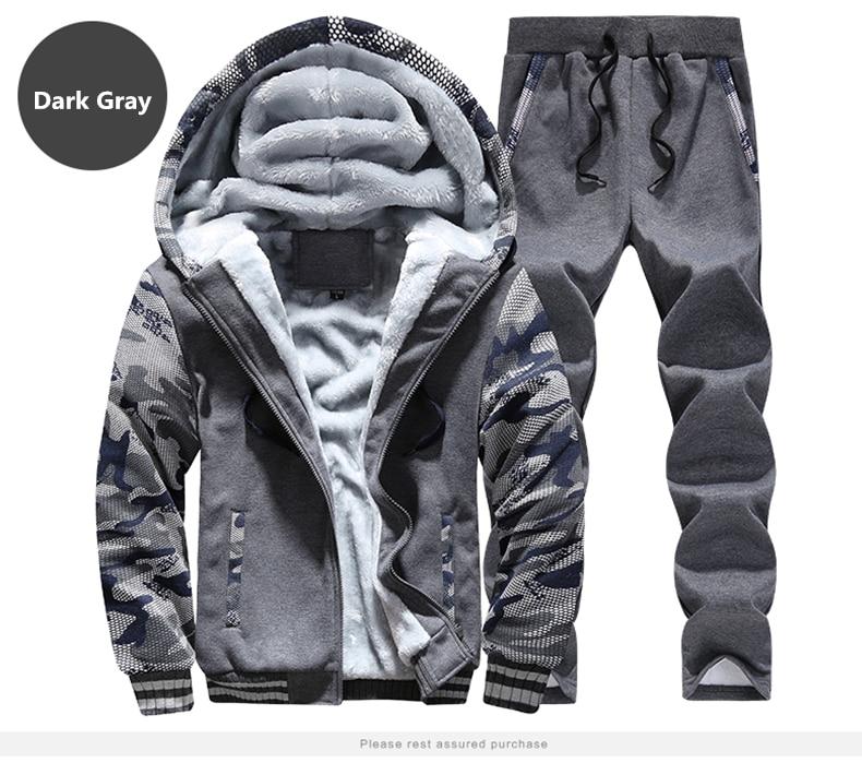 Winter Inner Fleece Hoodies Men Casual Hooded Warm Sweatshirts Male Thicken Tracksuit 2PC Jacket+Pant Men 21