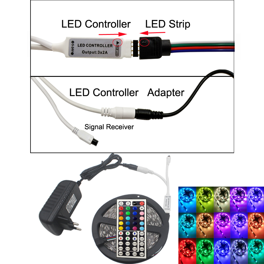 RiRi vandt RGB 5050 SMD Led Strip Light Fleksibel fita de 4M 5M 10M - LED Belysning - Foto 3