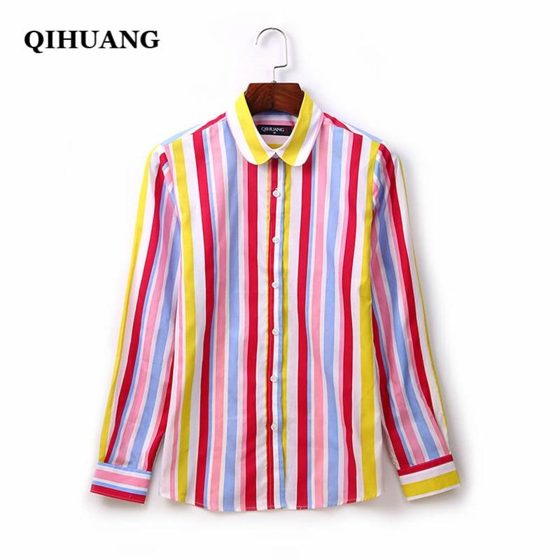 QIHUANG Women Shirts Cotton Long Sleeve Striped Printed Blouses Women Plus Size Tops 2019 Fashion Women Blouses Camisas Mujer