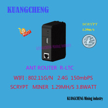 Kuangcheng добыча Scrypt Шахтер 1.29Mh/S ASIC Litecoin DGB дож Шахтер маршрутизатор 150 м Wi-Fi