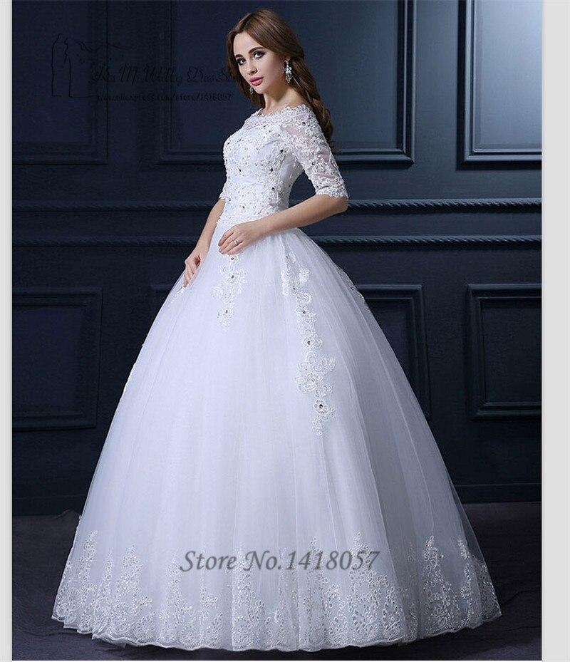 2016 Gelinlik Princess Vintage Wedding Dress Lace Half Sleeve ...
