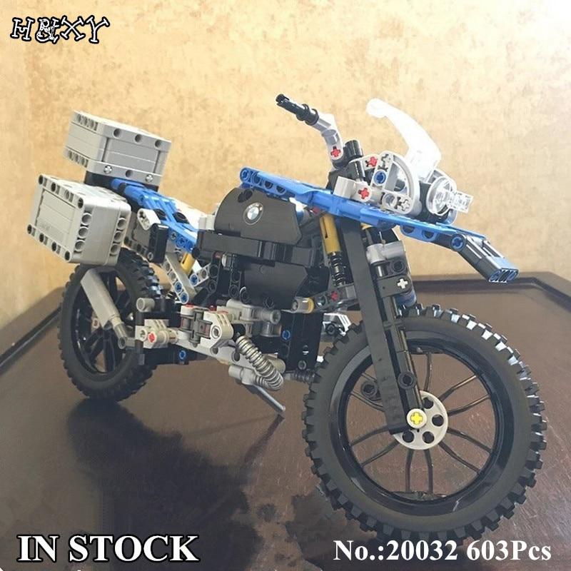 H&HXY 20032 603Pcs Technic Series The BAMW Off-road Motorcycles R1200 GS Building Blocks Bricks Educational Toys for Kid 42063 lego technic конструктор приключения на bmw r 1200 gs 42063