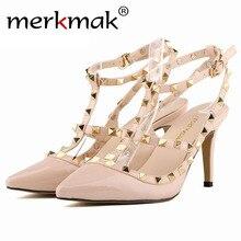 Merkmak 2016 Summer Punk Rrivet Women Sandals Sexy Fashion 9cm High Heels Pointed Toe Office Work Shoes Women 13 Kinds Colors