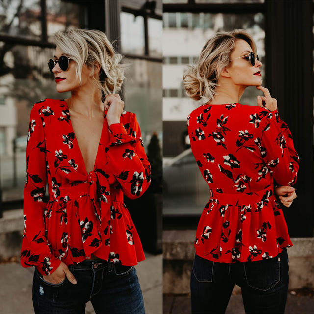8b48768765e Fall Clothing for Women Aesthetic Plus Size Streetwear Long Sleeve Plus Size  Clothing Deep V-neck Womens Graphic Tees