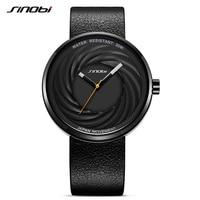 SINOBI Lentille Montre Hommes Unisexe De Mode En Cuir Véritable Montres Genève Quartz Horloge Creative Sport Montres Reloj Hombre 2018