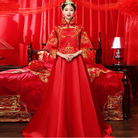 Chinese Wedding Oriental Dresses Qipao Cheongsam Women Phoenix Embroidery Traditional Evening Gown Red Trailing Bride Traditions
