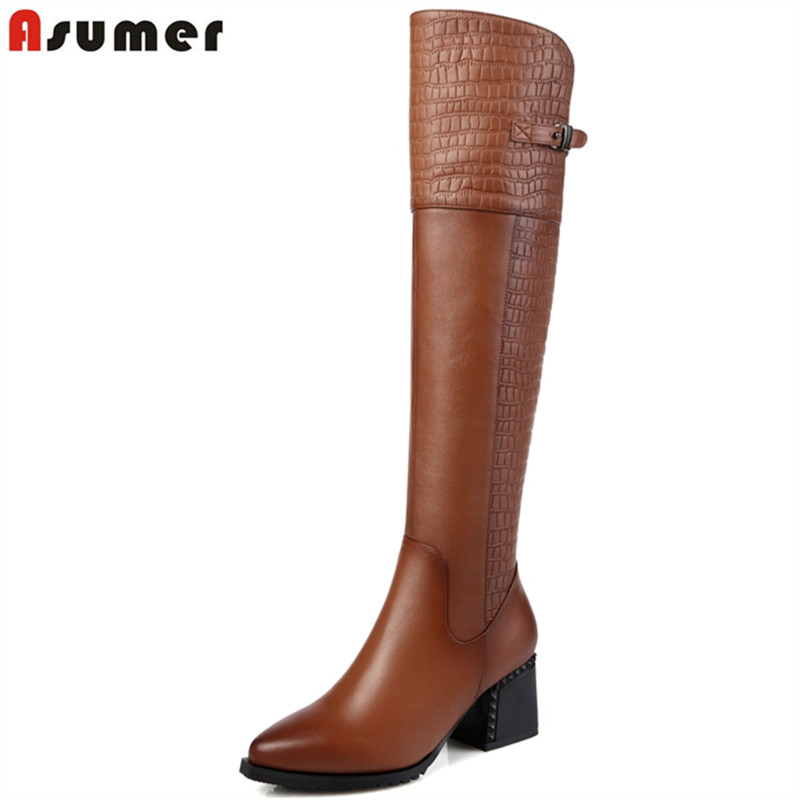 ASUMER 2018 Women boots fashion square cow leather knee high boots high heels winter boots pointed toe with buckle lady shoes sexy women s short boots with square buckle and pointed toe design