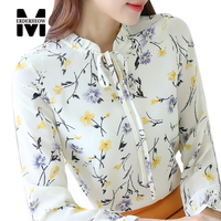 Merderheow New 2017 Spring Fashion Korean Style Women Top Quality Print Casual Blouse All-matched Chiffon Long Sleeve Shirt J263