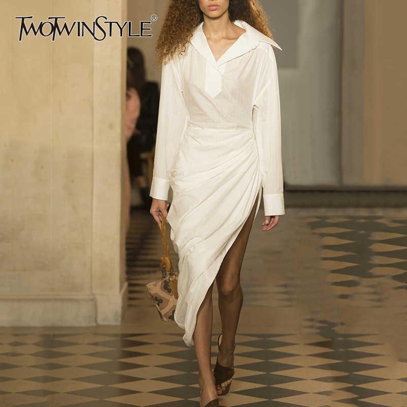 ac87b4465e7f TWOTWINSTYLE Shirt Dress Female Long Sleeve Ruched Tunic High Waist Bodycon Irregular  Long Dresses Summer Fashion