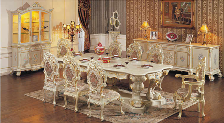 European style luxury dining room set solid wood antique white dining room furniture
