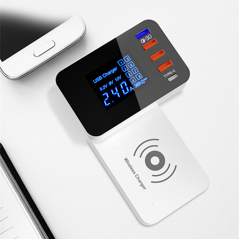 QI Wireless Charger Quick Charge 3.0 Smart USB Type C Charger Station Led Display Fast Charging Power Adapter Foldable Charger