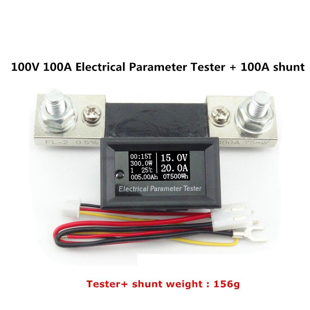 DC 100 V 100A Digital Amperímetro Voltímetro Medidor de Corrente e Tensão de Energia Elétrica Tempo de Exibição da temperatura com 100A shunt 40%