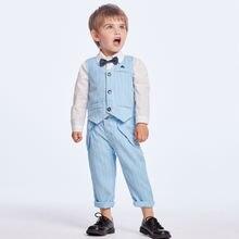 3 шт клетчатые костюмы для мальчиков с жилетом и брюками