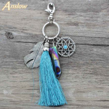 Anslow Summer Natural Stone Tassel Keyring Vintage Silver Boho Jewelry Dreamcatcher Keychain For Women Bag Purse Handbag D016(China)