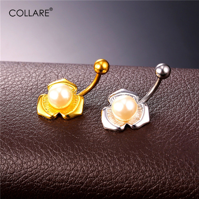 Collare Simulated Pearl Belly Button Rings For Women Party Gold Silver Color Navel Piercing Wholesale Women Body Jewelry Db128 In Body Jewelry From