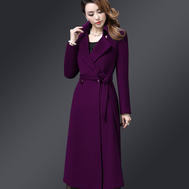 New Ladies Elegant Long Cashmere Overcoats Autumn Winter Fashion Turn down Collar Double breasted Woolen Coats
