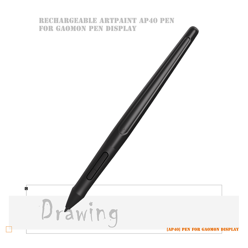GAOMON ArtPaint AP40 беспроводной художественный стилус, перезаряжаемая ручка для цифрового дисплея рисования PD1560