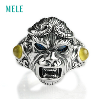 MELE Natural sapphire and prehnite silver 925 rings for man, Au Masculin jewelry with Monkey King shape