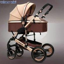 Wisesonle/детская коляска с высоким ландшафтом, подходит для детей 0-3 лет, двухсторонний амортизатор, одна кнопка для сбора новорожденного автомобиля
