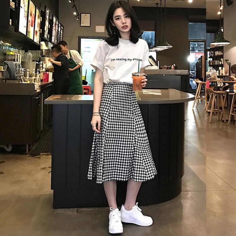 2019 Spring Summer New Korean Slim Women Large Size Ruffles Dresses Sets Short Sleeve Cotton Tshirts High Waist Plaid Skirt Lady