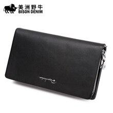Brand BISON DENIM Men Clutch Bag Genuine Leather Cowhide Purse Business Casual Handbag Large Capacity Men's Wallet Free Shipping