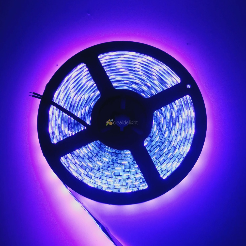 5050 <font><b>UV</b></font> 395-405nm Waterproof Flexible <font><b>LED</b></font> <font><b>Strip</b></font> 300 <font><b>Leds</b></font> Ultraviolet Light DC12V 5M/Lot Free Shipping! image