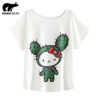 Summer T Shirt Women Cartoon Cactus Print Loose Batwing Sleeve T Shirt Lovely Top Tees Harajuku